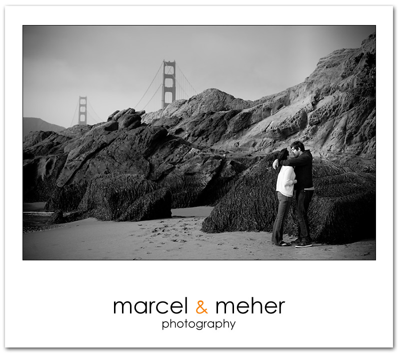 Baker Beach engagement session with Golden Gate Bridge