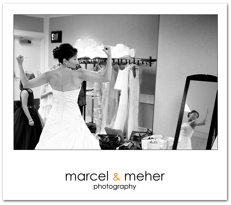Bride having fun while Bride getting ready at Silverado Resort napa valley