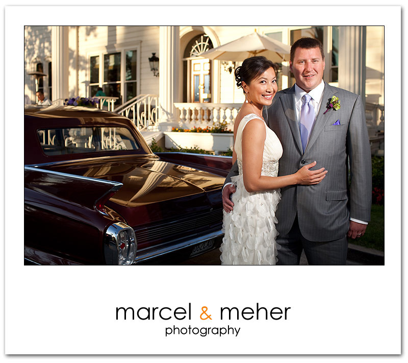 Bride and Groom portrait with car at Silverado Resort napa valley