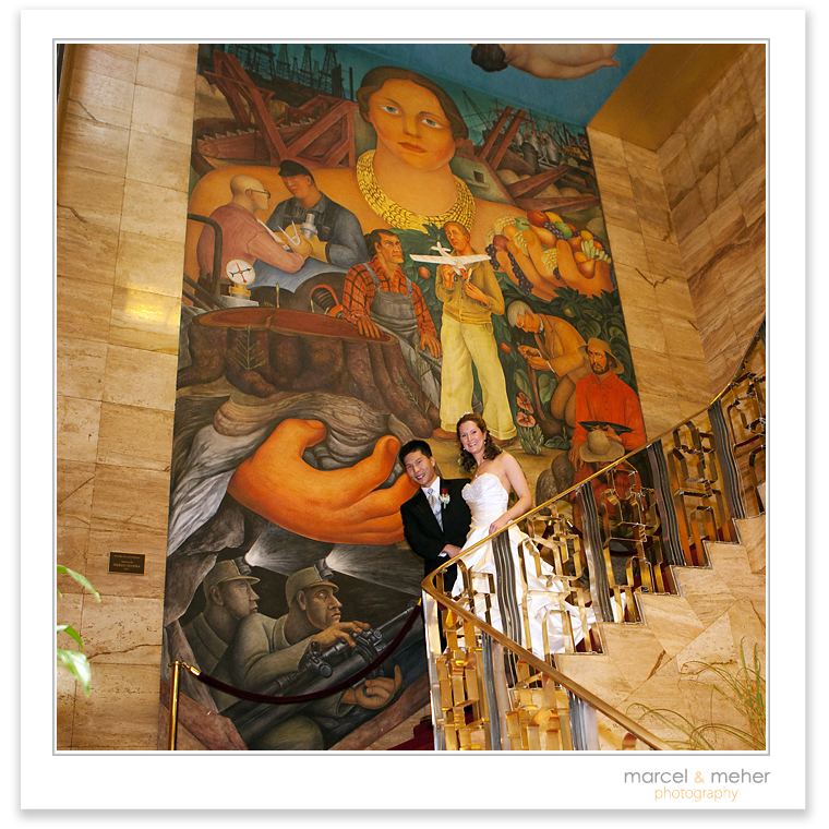 Wedding at City Club in San Francisco, Diego Rivera in the grand stairwell